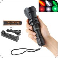 SecurityIng Hunting Flashlight XM-L2 U4 Red / Green / White Led 900LM 5 Modes Zoomable Waterproof 18650 Torch + Remote Pressure Switch
