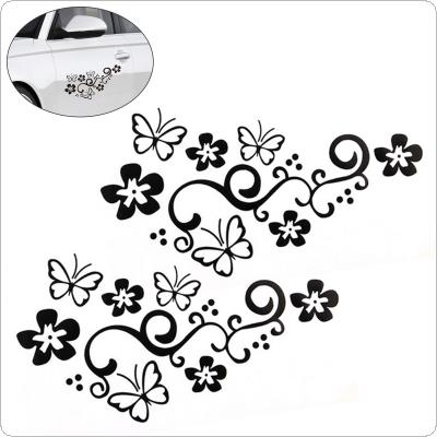 2Pcs Waterproof Universal Flower and Butterfly Car Sticker PVC for Auto Truck