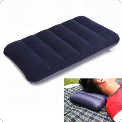 AOTU Outdoor Travel Folding Air Inflatable Pillow Dark Blue Portable Flocking Cushion for Office Plane Hotel