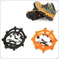 AOTU 1Pair 8 Teeth Claws Ice Crampons Manganese Steel Ice Gripper Ski Cleats Hiking Climbing Non-slip Shoes Chain Cover Travel Kit