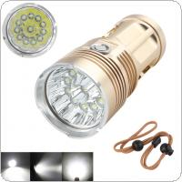 Golden 2400 Lumens 12x XML-T6 LED Super Bright Backpacking Hunting Fishing Flashlight Torch Flash Lamp 4 Modes