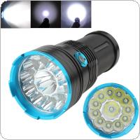 Waterproof 12x CREE XM-L T6 LED Tactical 18650 Flashlight Torch Light Lamp with 3 Modes for Hiking / Foyer / Study / Camping