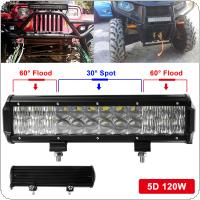 120W 12 Inch Led Chips Light Bar 5D Auto SUV Combo for Vehicle Driving Led Lamp Bar Suitable For Truck SUV Boat ATV Car Work Lights