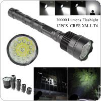8000 Lumens XM-L LED 12x T6 Super Flashlight Torch Lamp Light  with 5 Switch Modes for Outdoor / Camping / Hiking