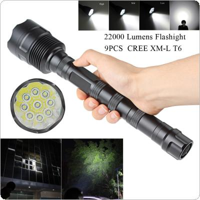 22000 Lumen 9x CREE XML T6 5 Mode Super Flashlight Torch Lamp Light for Camping / Hiking