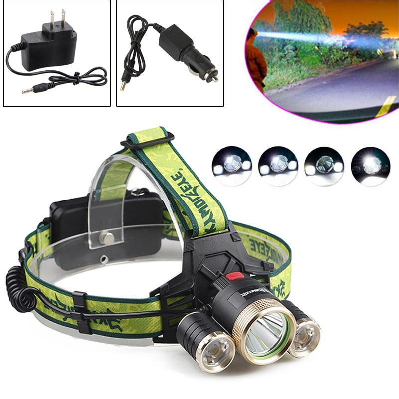 SKYWOLFEYE F526 Headlamp 1200LM XML T6 + 2x XPE 3 LED Rechargeable Head Light Torch + 2x Charger