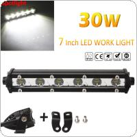Slim 7inch 30W 3000LM Spot LED Single Row Work Light Bar CREE OFFROAD DRIVING SUV