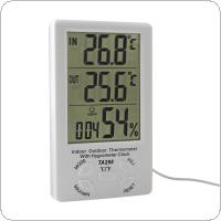 LCD External Digital Thermometer Temperature Humidity Meter Sensor Cable White