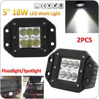 2x 18W 12V/24V 2000LM Waterproof LED Work Light for Motorcycle / Tractor / Boat / 4WD Offroad / SUV / ATV