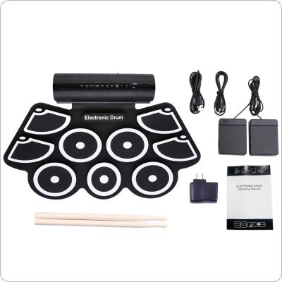 Portable Roll Up Electronic Drum Set 9 Silicon Pads Built-in Speakers with Drumsticks Foot Pedals Support USB MIDI