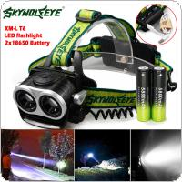 SKYWOLFEYE F522 LED 2x XM-L T6 1000lm Double Head Headlamp USB Rechargeable Zoomable Headlight + 2pcs 18650 5800mAh Battery