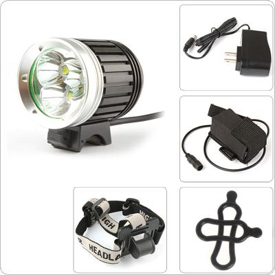 3x XM-L T6 LED 1800Lm LED Headlamp & Bicycle Light with 4400mAh Battery Pack