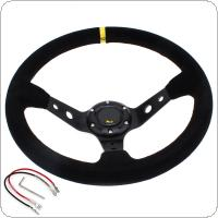14 Inch Racing Car Steering Wheel Universal 350mm Deep Dish Steering Wheel with Suede Leather Cover