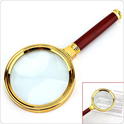 6X 80mm Handheld Magnifier with Plastic Handle Metal Frame Magnifying Glass Loupe for Reading Jewelry