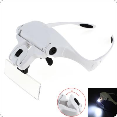 1.0X 1.5X 2.0X 2.5X 3.5X 5 Lens Adjustable Loupe Eyeglasses Bracket / Headband Interchangeable Magnifying Glass Magnifier with LED Lights