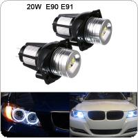 2pcs 1200LM 20W Headlight Angel Eye Ring Marker Halo Light Led for BMW E90 E91 Conversion