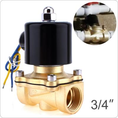"Solenoid Valve DC 12V 3/4"" NPT N/C Brass Normally Closed Electric Valve for Water Oil Air Diesel-Gas Fuels"