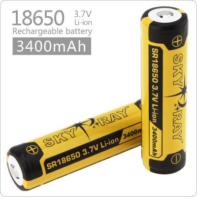 2pcs Skyray 3.7V 3400mAh 18650 Li-ion Rechargeable Battery with Protected PCB for LED Flashlights Headlamps