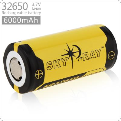 Skyray 3.7V 6000mAh 32650 Rechargeable Li-ion Battery with Protected PCB for LED Flashlights Headlamps