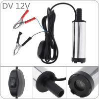DC 12V Stainless Steel Car Electric Submersible Pump Fuel Water Oil Barrel Pump with 2 Alligator Clips
