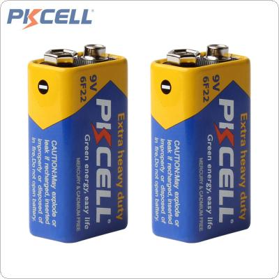 2pcs Pkcell Super Heavy Duty 9V 6F22 Dry Zinc Carbon Battery for Remote Control Toys / Smoke Alarm