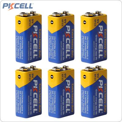 6pcs Pkcell Super Heavy Duty 9V 6F22 Dry Zinc Carbon Battery for Remote Control Toys / Smoke Alarm