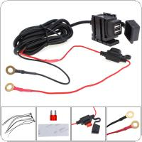 Dual USB 12V Waterproof Motorcycle Handlebar Power Charger Supply Port Socket for Phone / GPS / MP4
