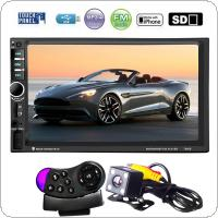 7 Inch HD Touch Screen 2 Din Bluetooth Car Audio Stereo FM MP5 Player Support AUX / USB / TF / Phone Connected with Rearview Camera