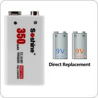 2pcs Soshine 9V 6F22 350mAh Ni-MH Rechargeable Battery + 9V Smart Charger with LED Indicator