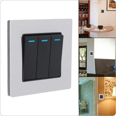 3 Gang 1 Way 250V 10A Control Brushed Stainless Steel Panel Click Wall Switch with LED Indicator Light Waterproof