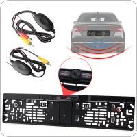 IR Night Vision EU Car License Plate Frame Rear View Camera + 2.4G Wireless Color Video Transmitter and Receiver