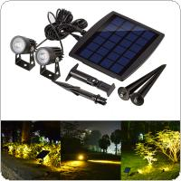 Outdoor Solar Powered Light Ultra-bright Submersible Lamp 2 LED Waterproof Spotlight for Garden / Pool / Lawn / Patio