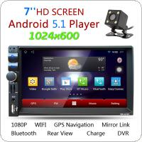 7 Inch Android 5.1 2Din Bluetooth Car Radio Stereo Player Digital Touch Screen 1024x600 GPS Navigation + Night Vision Rear View Camera