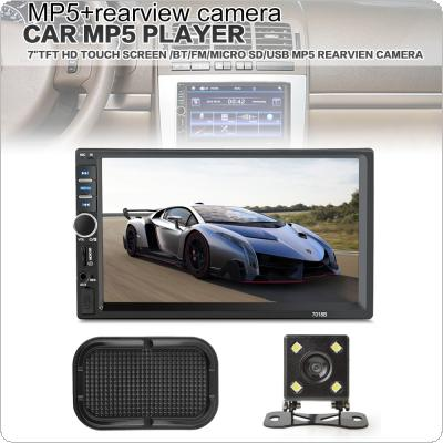 7 Inch 2 Din Bluetooth Car MP5 Video Player In Touch Screen Support MP3 USB TF AUX FM  + Rear View Camera + Car Anti-slip Phone Holder