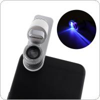 60X Mini ABS 3-in-1 Optical Glass Microscope Lens with 3 LEDs Light for Universal Mobile Phones