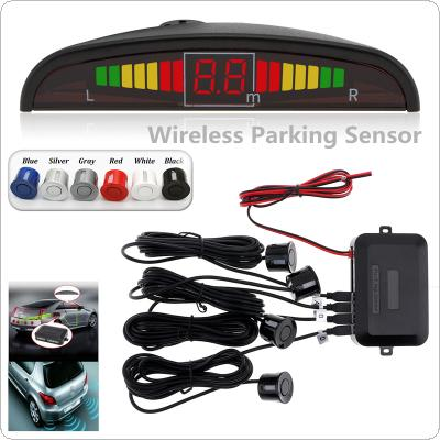 Wireless Car Auto Parktronic LED Parking Sensor With 4 Sensors Reverse Backup Car Parking Radar Monitor Detector System Backlight Display