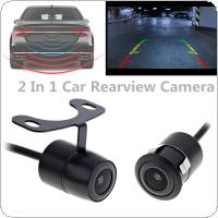 Universal 2 In 1 CCD Car Rearview Camera Wide Angle with Parking Lines and 18.5mm Glass Lens