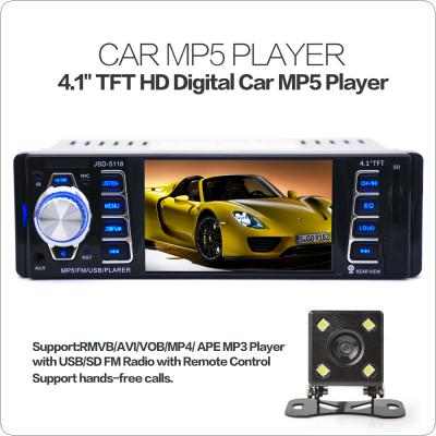 5118 4.1 Inch 1 Din 50W x 4CH HD Car Stereo Radio Bluetooth MP3 MP5 Player Support USB / FM / TF / AUX with Rearview Camera