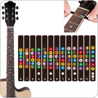 Water Resistant Universal Guitar Fretboard Note Labels Fingerboard Fret Stickers 2 Colors Optional for 6 String Acoustic Electric Guitar