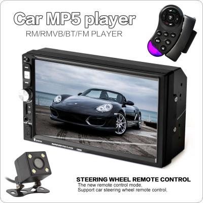 7 Inch HD 2 Din Bluetooth Car Audio Stereo FM MP5 Player with Touch Screen and Rearview Camera Support AUX / USB / TF / Phone