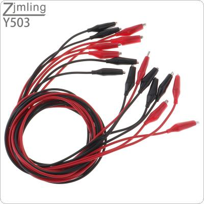 8pcs 35mm Double-ended Red / Black Clip with Silicone Boot Crocodile Cable Alligator Jumper Wire Test Lead for Testing Probe Meter