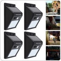 4pcs Outdoor Waterproof 20 LED Rechargeable Solar Power PIR Motion Sensor Wall Light  for Garden / Yard / Driveway