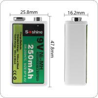 Soshine 9V 6F22 250mAh Ni-MH Rechargeable Battery + Portable Battery Box for Microphones / Instruments Meters