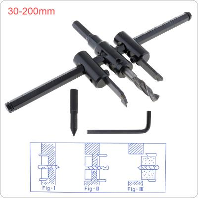 30-200mm Adjustable Aircraft Type Wood Circle Hole Saw Cutter Tool Kit Cordless Drill Bit for Woodworking