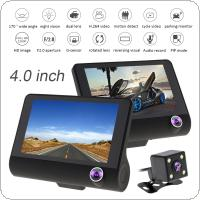 4.0 Inch IPS Screen Full HD 1080P 3-CH Car Recorder DVR Dash Camera G-Sensor Cyclic Recording with 170 Degree Night Vision Rear View Camera