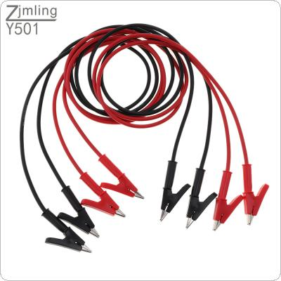4pcs 15A / 18AWG 1m Insulated Double End Alligator Clip Electrical Clamp Insulated Test Lead Cable