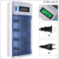 PALO 4 Slots Independent  Rechargeable LCD Display Smart Screen Battery Charger with Over Temperature Protection for Ni-MH NI-CD AA / AAA / SC  / 9V Batteries
