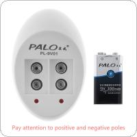 PALO 2 Independent Channels Quick Intelligent Charger with LED Indicator for 9V Ni-MH / Li-ion Battery + 2pcs 9V 6F22 300mha Rechargeable NiMH Batteries