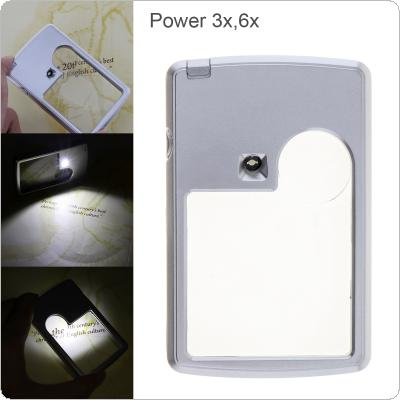 4B-3 Card Type Ultra-thin 2 Lens Portable Square Magnifier with LED Light for Reading