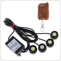 One to Four 4 x 1.5W Strobe Flash Eagle Eye LEDs Car Light with Wireless Remote